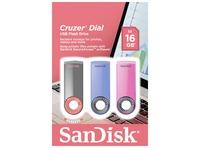 1X3 SANDISK CRUZER DIAL 16GB BLUE PINK BLACK SDCZ57-016G-B46T