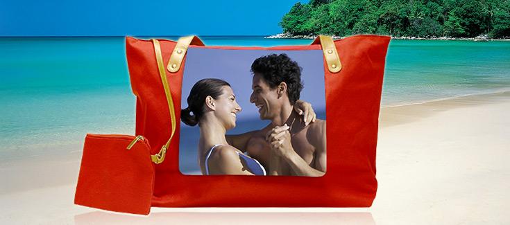 Bolsa de playa roja 53x35 cm -