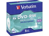 1X5 VERBATIM DVD-RW 4,7GB 4X SPEED, CAJA