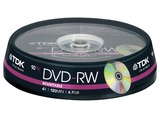 1X10 TDK DVD-RW 4,7GB 4X SPEED, BOBINA