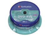1X25 VERBATIM DVD-RW 4,7GB 4X SPEED, PLATA MATE