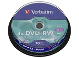 1X10 VERBATIM DVD-RW 4,7GB 4X SPEED, PLATA MATE, BOBINA