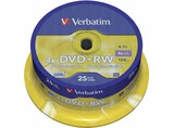 1X25 VERBATIM DVD+RW 4,7GB 4X SPEED, PLATA MATE